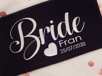 Personalised Wide Canvas Make Up Bag  - Wedding Role, Name & Date